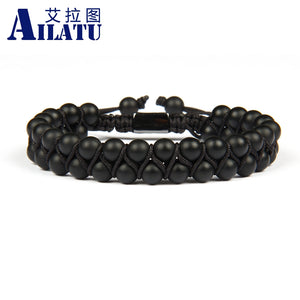 (BLACK DOUBLE ROW) Beaded 6mm Matte & Black Onyx Natural Stone Macrame
