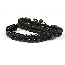 Load image into Gallery viewer, (BLACK DOUBLE ROW) Beaded 6mm Matte & Black Onyx Natural Stone Macrame