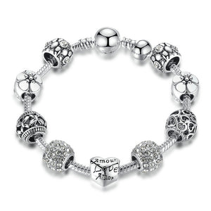 (Love and flowers)Antique Silver Charm Bracelet & Bangle with Love and Flower Beads Women Jewelry 4 Colors 18CM 20CM 21CM