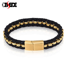 Load image into Gallery viewer, (GOLD/BLACK STAINLESS STEEL) Beads Bangles for Men Jewelry High Quality Braid Rope Chain Gifts