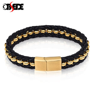 (GOLD/BLACK STAINLESS STEEL) Beads Bangles for Men Jewelry High Quality Braid Rope Chain Gifts