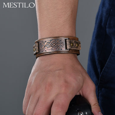 (ANTIQUE BRONZE CARVED) Flower Pattern Wristband Bangles Punk Ethnic Men Cool Brown Leather Wide Bracelets