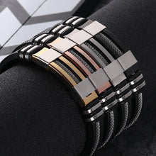 Load image into Gallery viewer, (Stainless Steel Rubber) Black Bracelet Men WristBand Punk Style New Design Men Bracelet Simple Rubber