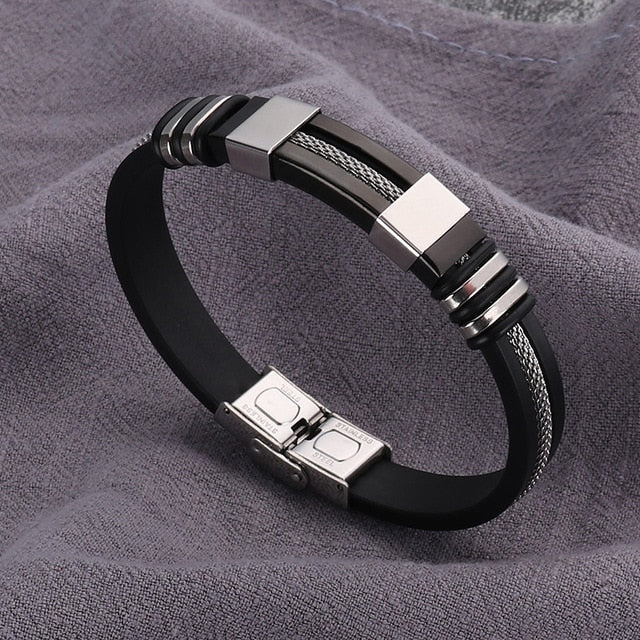 (Stainless Steel Rubber) Black Bracelet Men WristBand Punk Style New Design Men Bracelet Simple Rubber