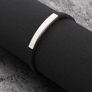 ( Silicone Rubber Bar) 220 Mm Stainless Steel Men Bracelet Bangle