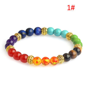 (Chakra 7 Stone Gemstone) Yoga Healing Point Buddha Crystal 8mm Bead Bracelet