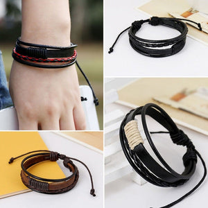(RETRO MULTILAYER) Leather Wristband Bracelet Cuff Charm Bangle Men