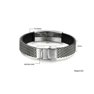 Wild Mens Punk Bracelet Stainless Steel Leather Cuff Bangle Wristband
