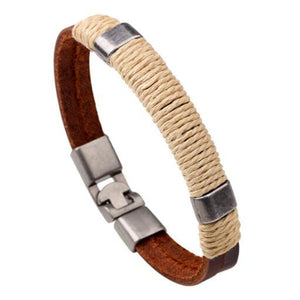 (Charm Brown Leather) Bracelets Handmade Leather Hooks Bracelets