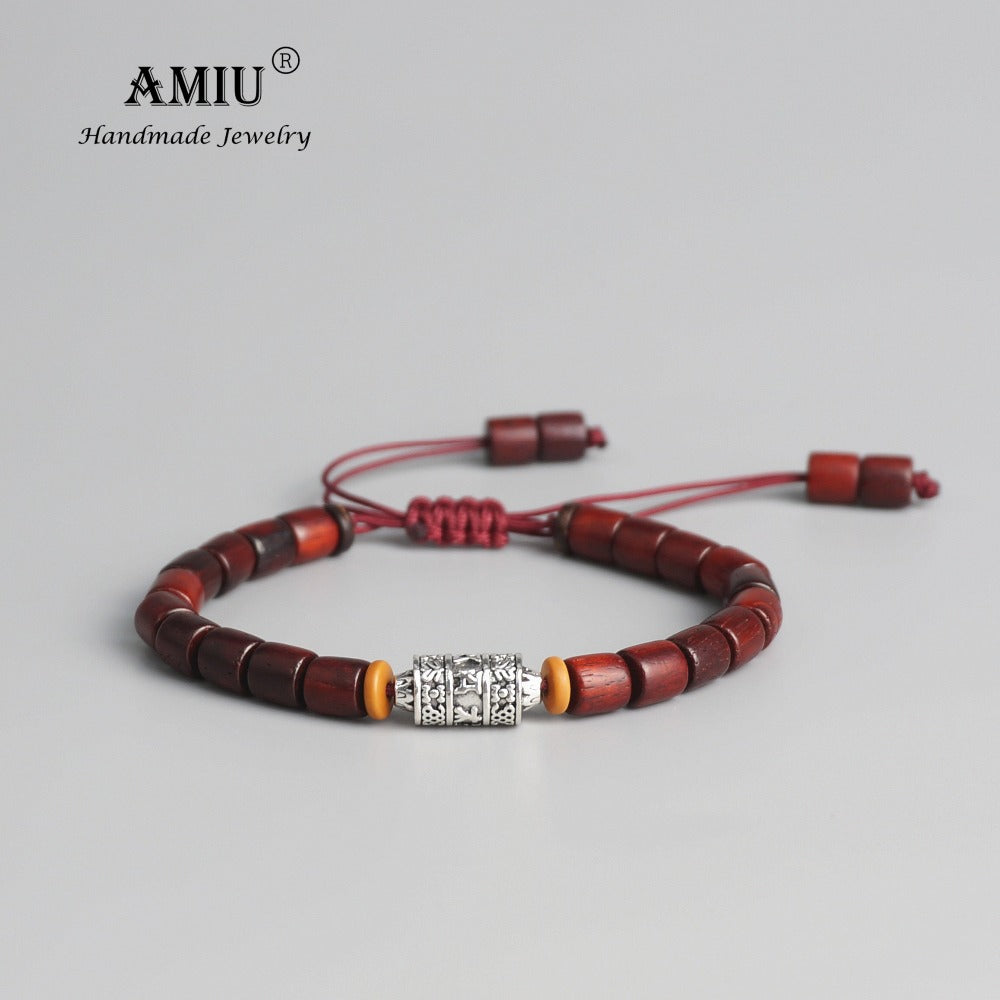 (BUDDHIST MANTRA) Sign Charm Natural Sanders Wood Mala Beads Bracelet