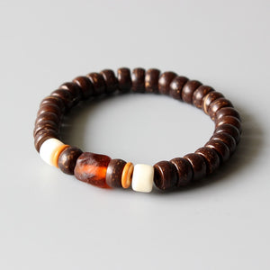 (Lampwork & Natural Coconut Shel)l Beaded Stretch Bracelet Tibetan Buddhism Prayer Beads Jewelry Yoga Meditation Bangles