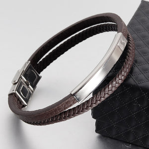 (Classic Leather Titanium Steel) Bracelet Men Bracelets & Bangles