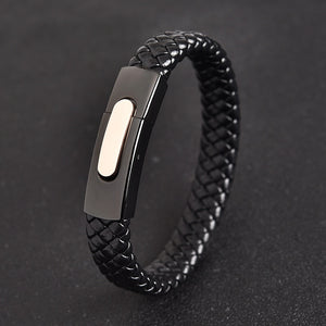 (Magnet Clips) Genuine Black Leather Bracelet Silver Color Stainless Steel Magnetic Buckle Punk Bangles