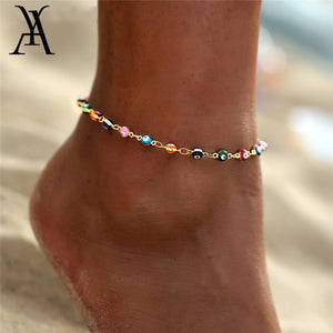 (TINY LUCKY EYE) for Women Charm Gold Color Beads Pendant barefoot sandals Anklet Foot Jewelry Accessories