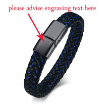 Load image into Gallery viewer, (PERSONALIZED) Men's Leather Wrap Bracelet Black Silver Bucklet Wave Hand Made Braided ID Bangle For Male Punk DIY Jewelry