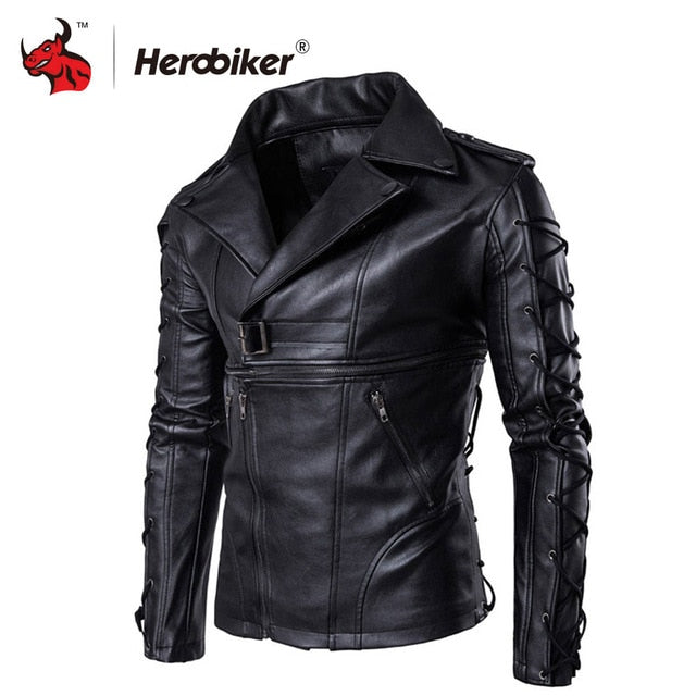 (MOTO JACKET)  Motorcycle Jackets Men Moto Jackets Hip Hop Streetwear Biker Classic PU Leather Jackets Protective Gear Moto Clothing