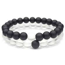Load image into Gallery viewer, (TRANSPARENT BLACK) Elastic Rope White and Black Yin Yang 8mm Matte Beads Bracelet for Men Women Jewelry