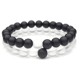 (TRANSPARENT BLACK) Elastic Rope White and Black Yin Yang 8mm Matte Beads Bracelet for Men Women Jewelry