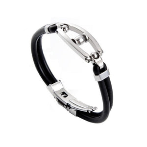 (Cuff Rubber) Bracelet Stainless Steel Charm Bracelet For Men