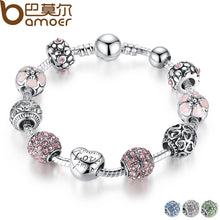 Load image into Gallery viewer, (Love and flowers)Antique Silver Charm Bracelet & Bangle with Love and Flower Beads Women Jewelry 4 Colors 18CM 20CM 21CM