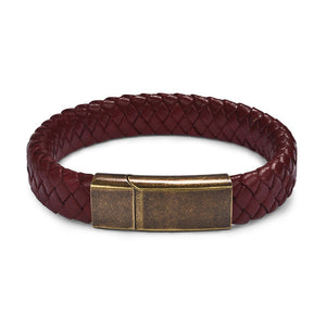 (LEATHER-MAGNETIC CLASP) Leather Bracelet Stainless Steel Black/Brown/Red/White 18.5/22/20.5cm