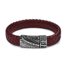 Load image into Gallery viewer, (LEATHER-MAGNETIC CLASP) Leather Bracelet Stainless Steel Black/Brown/Red/White 18.5/22/20.5cm