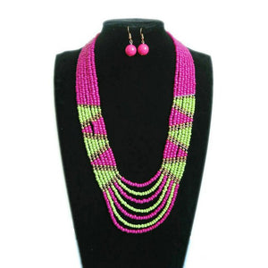 (CHOKER NECKLACES) Geometric Triangle Color Resin Beaded Necklace Jewelry