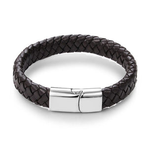 (Rinho Punk) Black/Brown Braided Leather Bracelet Stainless Steel Magnetic Clasp 18.5/22/20.5cm