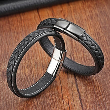 Load image into Gallery viewer, (Classic Steel Magnetic Buckle )19,21,23cm Size Choose Genuine Leather Stainless Steel Leather Bracelet Fashion Charm Bracelet