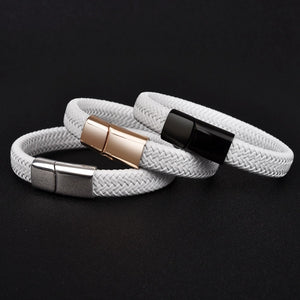 (WHITE LEATHER-TITANIUM STEEL) Magnetic Clasp Male Jewelry Chic Silver/Gold/Rose Gold Buckle