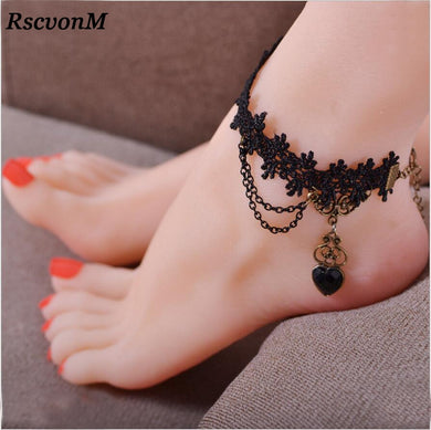 RscvonM  Gift Heart Bracelet On Leg Summer Jewelry Wholesale Anklet Foot Jewelry Women C564