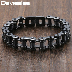 (Biker Silver Black 316L) Stainless Steel Wristband Party Jewelry 14/19/23mm DLHB31