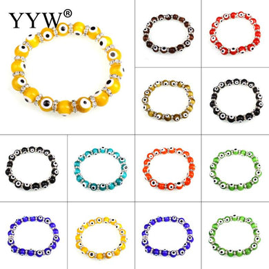 (LUCKY EYE)  Multicolor Handmade 10mm Lampwork Round Ball Evil Eye Rhinestone Spacer Beaded Jewelry Bracelets Bangles