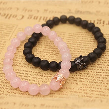 Load image into Gallery viewer, (2PC QUEEN CROWN)natural stone beads men's crown bracelet ladies bracelet pink spar black