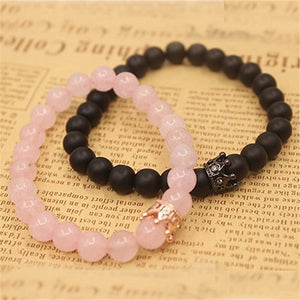 (2PC QUEEN CROWN)natural stone beads men's crown bracelet ladies bracelet pink spar black