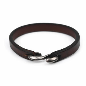 (CLASSIC LEATHER) Men Vintage Black/Brown Genuine Leather Bracelet Jewelry 20cm/18.5cm