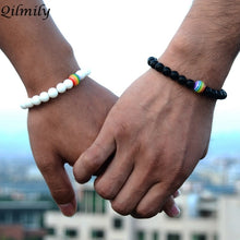 Load image into Gallery viewer, (RAINBOW LGBT) Rainbow Color Gay Bracelets&Bangle for Women Men Volcanic Stone Couple Gifts Souvenirs Hot