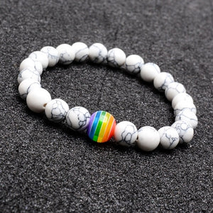 (RAINBOW LGBT) Rainbow Color Gay Bracelets&Bangle for Women Men Volcanic Stone Couple Gifts Souvenirs Hot
