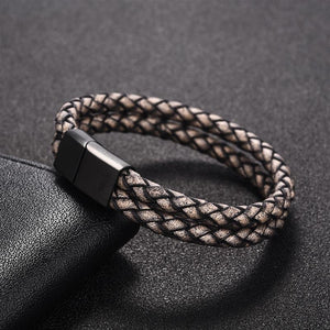 (Double Row Brown) Leather Magnetic Buckle For Men Male Jewelry Red/Blue Bangle 18.5/20.5/22cm