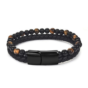 (LEATHER AND BEADS) Magnetic Buckle 6mm Jewelry Bangle 18.5/20.5/22cm