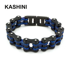 Load image into Gallery viewer, (Punk Motorcycle Chain) Blue Black Bracelet Mens Stainless Steel Biker Bracelet Men Bicycle Bike Bracelets & Bangles