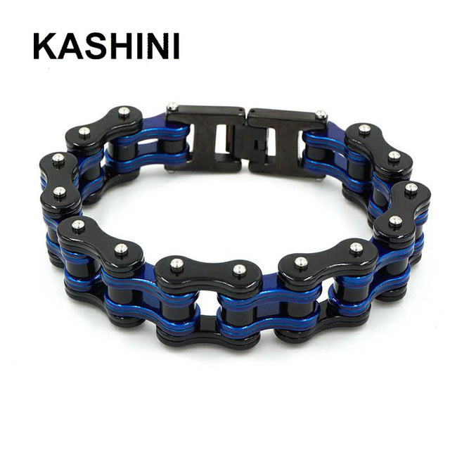 (Punk Motorcycle Chain) Blue Black Bracelet Mens Stainless Steel Biker Bracelet Men Bicycle Bike Bracelets & Bangles