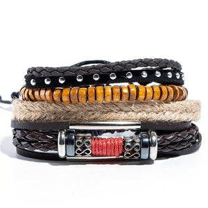 (BRACELET SET) Bangles Ethnic braided Rope Wrap Bracelets for Women Men Gifts