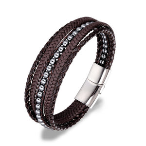 (FASHION STONE BEADS ) Stainless Steel Chain Genuine Leather Bracelet 8.5in