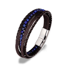 Load image into Gallery viewer, (FASHION STONE BEADS ) Stainless Steel Chain Genuine Leather Bracelet 8.5in