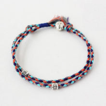 Load image into Gallery viewer, (Buddhism Lucky Rope) Handmade Tibetan Silver Buddha Head Bracelet Double Layers Adjustable Mixed Color