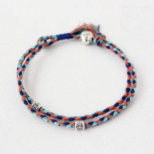 (Buddhism Lucky Rope) Handmade Tibetan Silver Buddha Head Bracelet Double Layers Adjustable Mixed Color