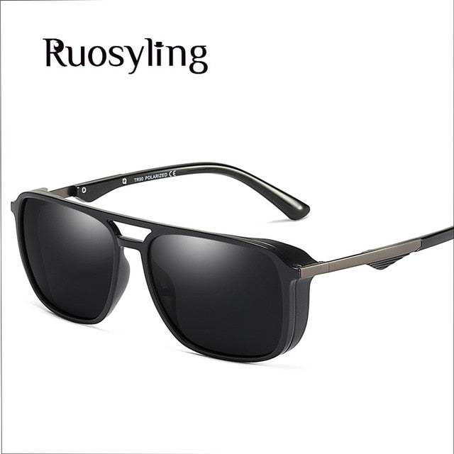 ( Sunglasses Polarized) Unisex Vintage Driving Eyewear UV 400 Square Retro Punk Glasses Female Male Windproof Goggle