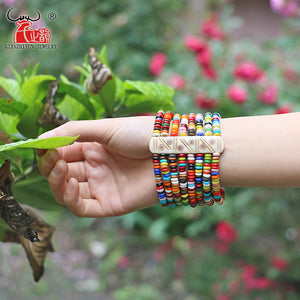 (TIBET YAK BONE)  Charm Bracelets & Bangles  Hand-made Color beads bracelet Good luck Bangles Retro Party Jewelry