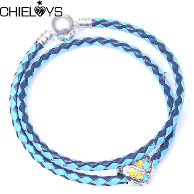 (European Bracelet With Rainbow) Bead Charm Leather Chain Fine Bracelet For Women Jewelry